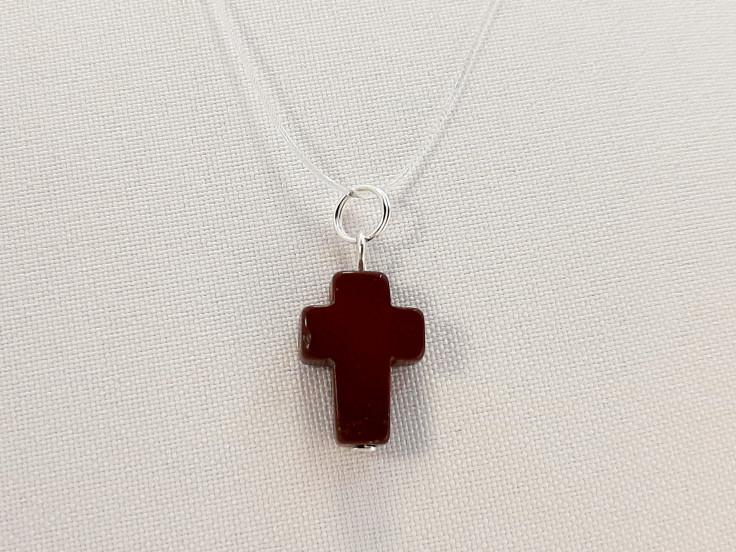 Подвеска крест Яшма красная