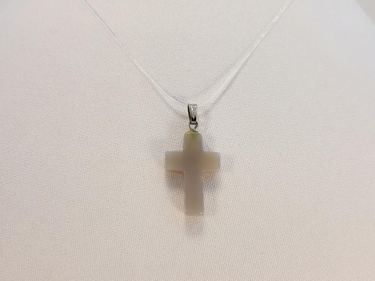 Подвеска крест  Агат серый
