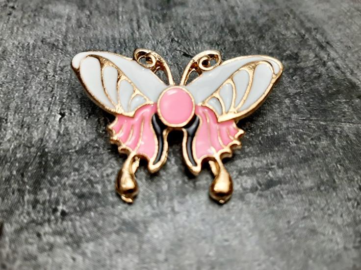 Брошь бабочка розовая эмаль 30*45мм