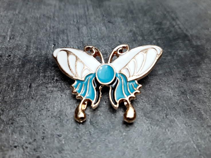 Брошь бабочка голубая эмаль 30*45мм