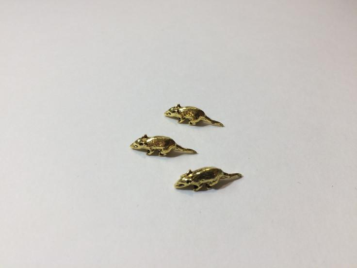 Мышь 5*20мм цвет золото 1шт*10р